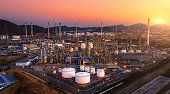 Aerial view of refinery plant,Industry Petrochemical at twilight