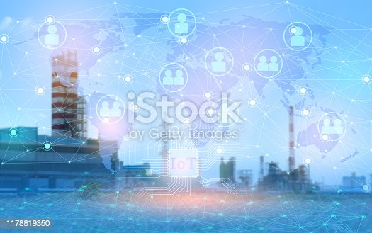 1178819379 istock photo 4.0 industry technology to increase productivity and reduce labor. The use of the Internet of things and artificial intelligence. Remote management of an entire enterprise without workers 1178819350