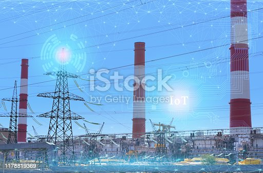 1178819379 istock photo 4.0 industry technology to increase productivity and reduce labor. The use of the Internet of things and artificial intelligence in the energy sector 1178819369