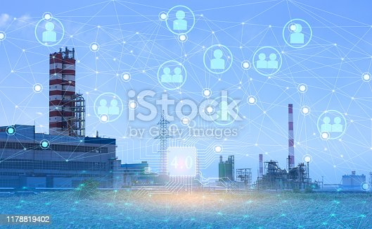 1178819379 istock photo 4.0 industry technology to increase productivity and reduce labor. The use of the Internet of things and artificial intelligence in the energy sector 1178819402
