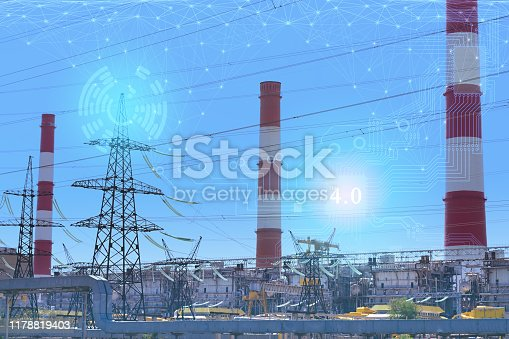 1178819379 istock photo 4.0 industry technology to increase productivity and reduce labor. The use of the Internet of things and artificial intelligence. Remote management of an entire enterprise without workers 1178819403