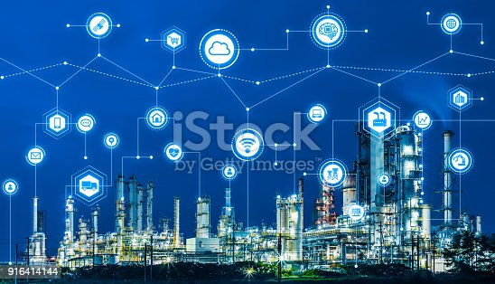 istock Industry4.0 and IoT(Internet of Things). Factory automation system. AI(Artificial Intelligence). 916414144
