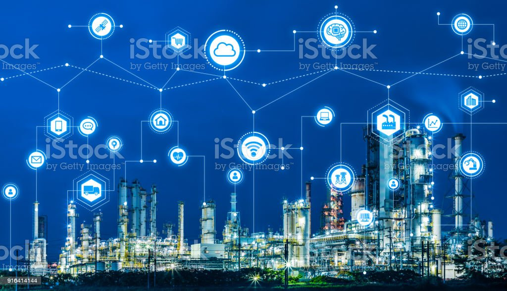 Industry4.0 och IoT (Sakernas Internet). Factory automationssystem. AI (artificiell intelligens). bildbanksfoto