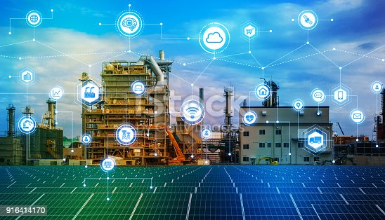 istock Industry4.0 and IoT(Internet of Things). Factory automation system. AI(Artificial Intelligence). 916414170