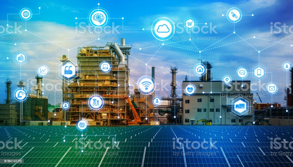 Industry4.0 and IoT(Internet of Things). Factory automation system. AI(Artificial Intelligence). stock photo
