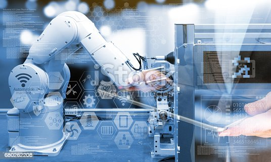 istock Industry4.0 concept .Business man holding tablet with industry graphic sign and blue tone of automate wireless Robot arm in smart factory background. Double exposure , blue tone 680262208