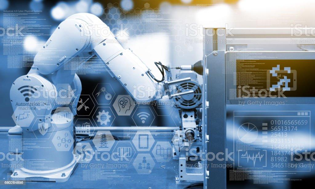 Industry4.0 Konzept. Industrie grafische Zeichen und Blauton der automatisieren drahtlose Roboterarm in intelligente Fabrik Hintergrund. Doppelbelichtung, Fackel Licht – Foto