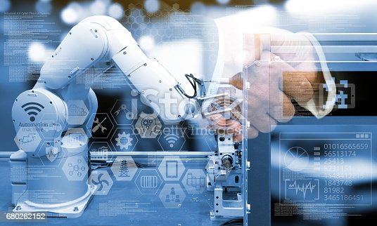 istock Industry4.0 concept .Two Business people shaking hands with industry graphic sign and blue tone of automate wireless Robot arm in smart factory background. Double exposure ,blue tone 680262152