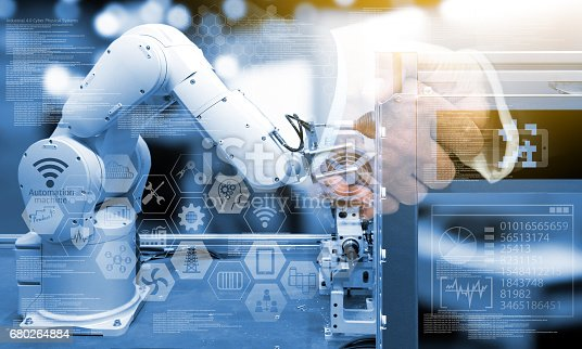 istock Industry4.0 concept .Two Business people shaking hands with industry graphic sign and blue tone of automate wireless Robot arm in smart factory background. Double exposure , flare light 680264884