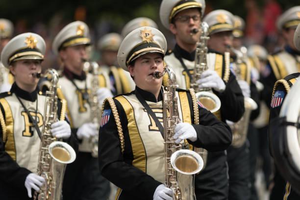 indy 500 parade 2018 - purdue university stock-fotos und bilder