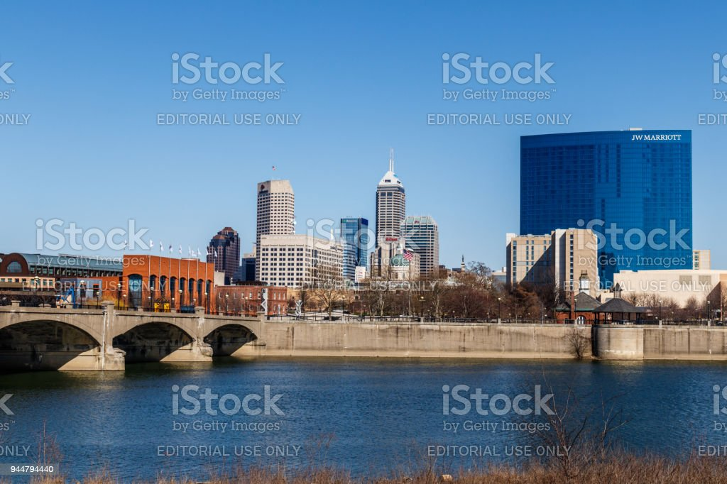 Indy Downtown Skyline on a Sunny Day with the newly renamed Salesforce Tower, Regions Bank, Hilton, and JW Marriott Hotel V stock photo