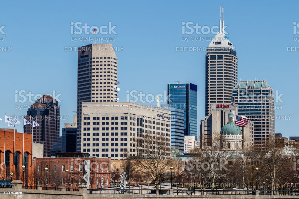 Indy Downtown Skyline on a Sunny Day with the newly renamed Salesforce Tower, Regions Bank and Hilton Hotel III stock photo