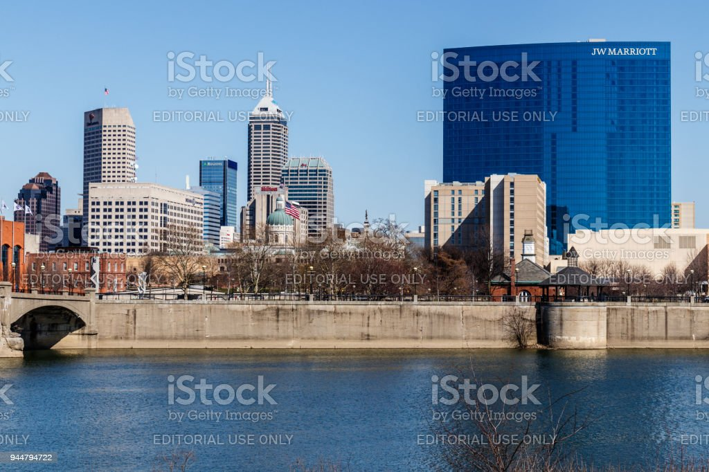 Indy Downtown Skyline on a Sunny Day with the newly renamed Salesforce Tower, Regions Bank, Hilton, and JW Marriott Hotel II stock photo