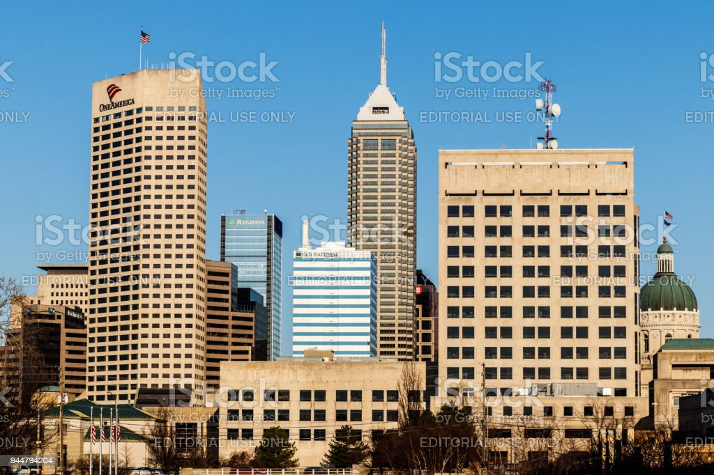 Indy's Downtown Skyline on a Sunny Day with the newly renamed Salesforce Tower, Regions Bank and the State Capitol VII stock photo