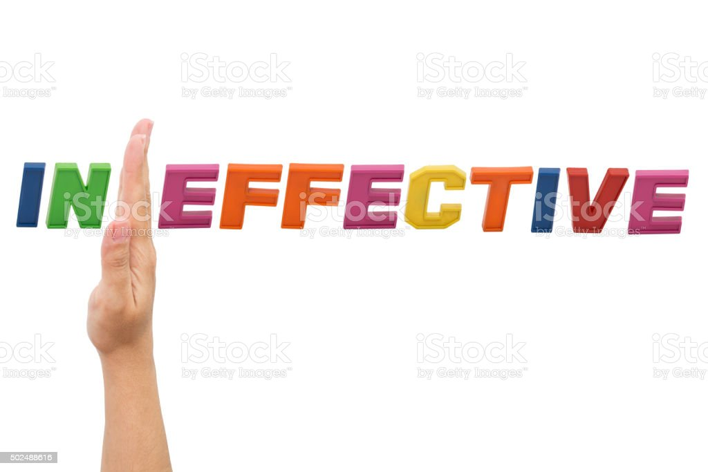 Ineffective , word with hand stock photo
