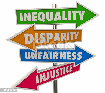 Inequality Disparity Words Signs 4 Arrows 3d Illustration