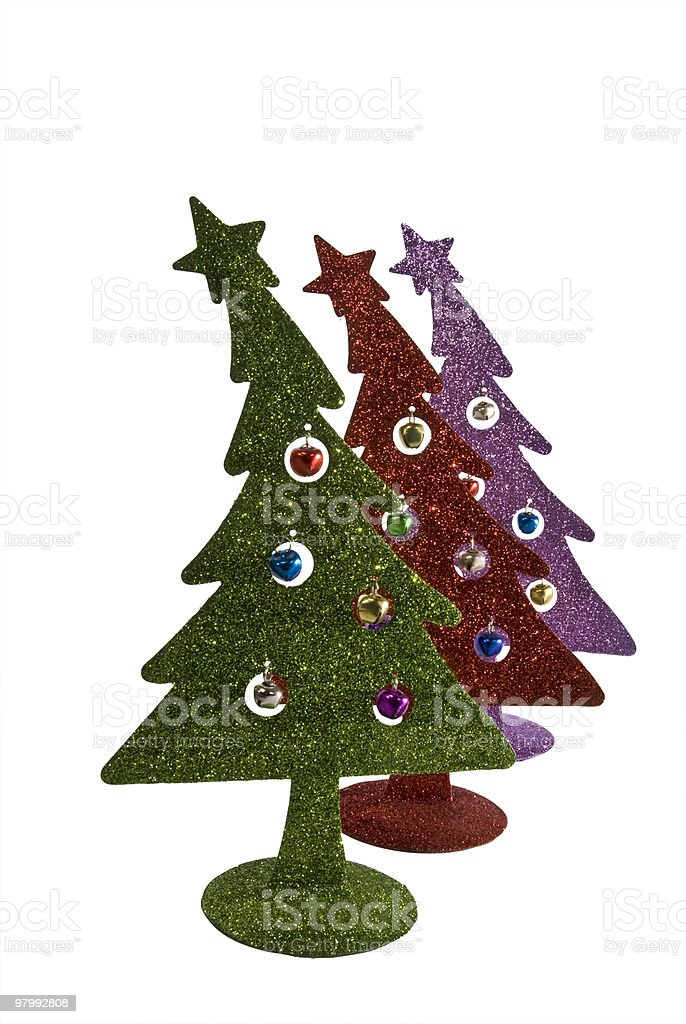 Inexpensive Glitter Christmas tree  ornaments royalty-free stock photo