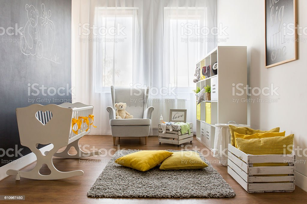 Infant baby room stock photo
