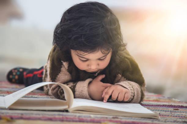 Kleinkind frühes Lernen aus Büchern, auf Decke auf dem Boden liegend. Bildung Inspiration Konzept. – Foto