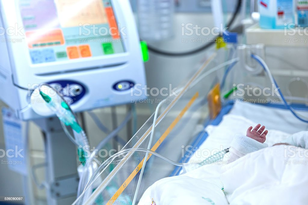 Infant lying in incubator for newborns stock photo