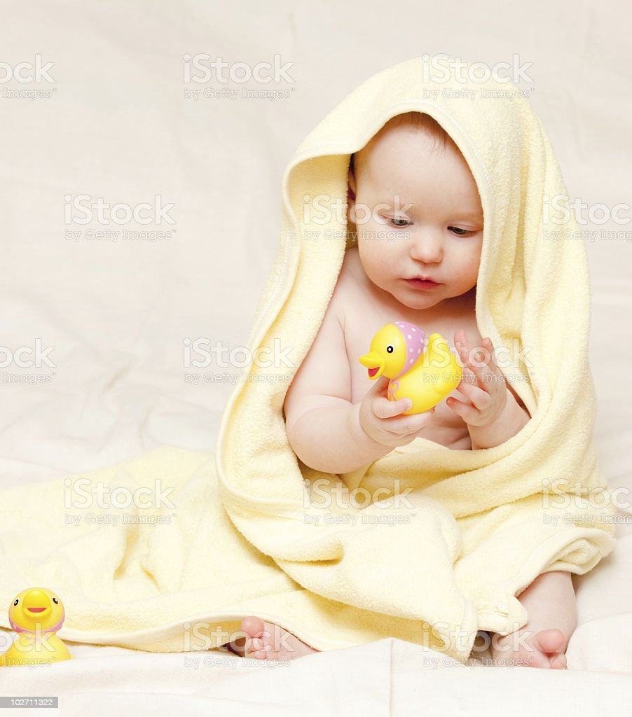 Infant with rubber duck royalty-free stock photo