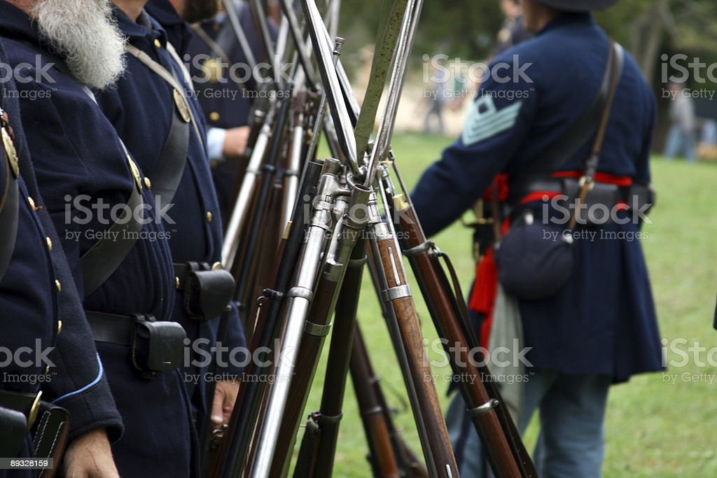 Infantry At the Ready: Civil War Muskets in Formation royalty-free stock photo