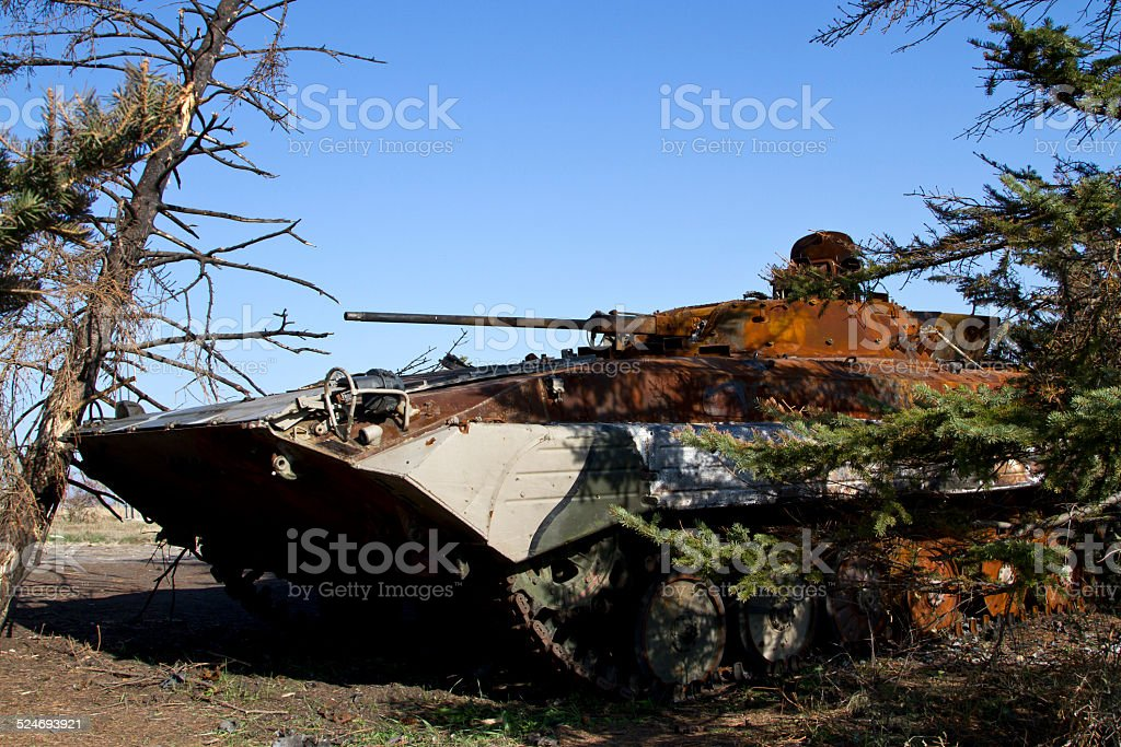 Infantry fighting vehicle Ukrainian army stuck in the trees stock photo