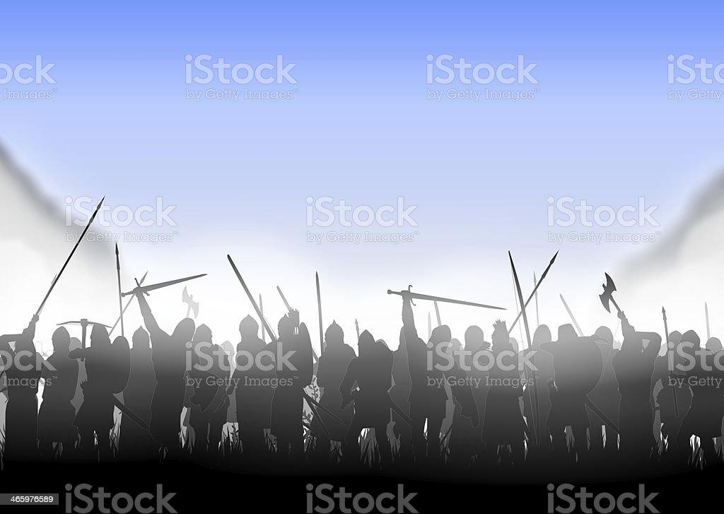 infantry in the fog stock photo