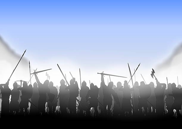 infantry im nebel - mittelalterliche ritter stock-fotos und bilder