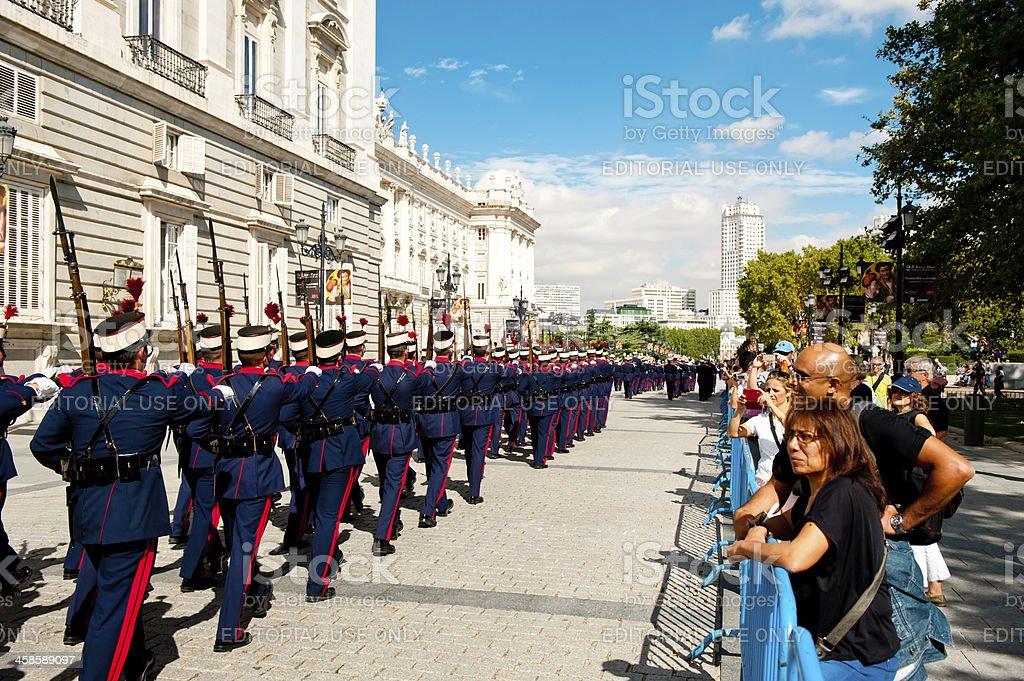 infantry parade near Royal Palace in Madrid stock photo