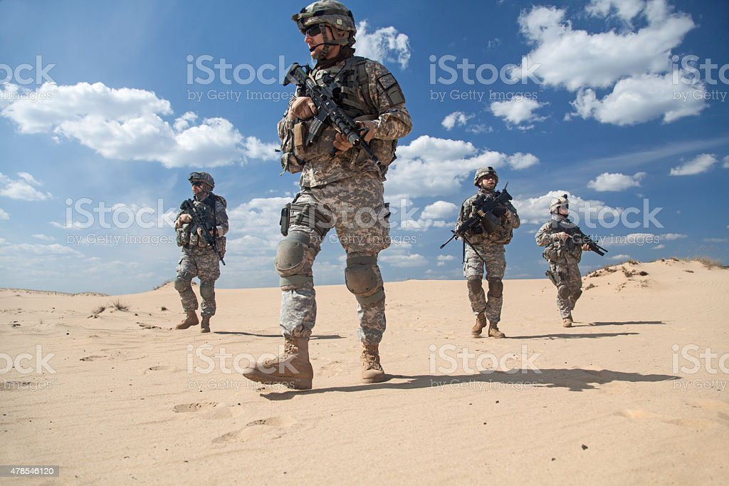 infantrymen in action stock photo