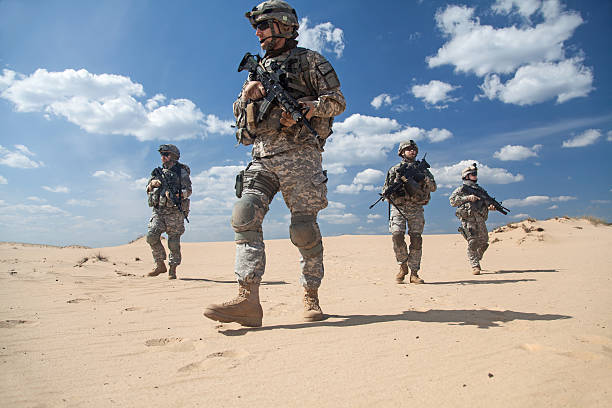infantrymen in action - soldier stock photos and pictures