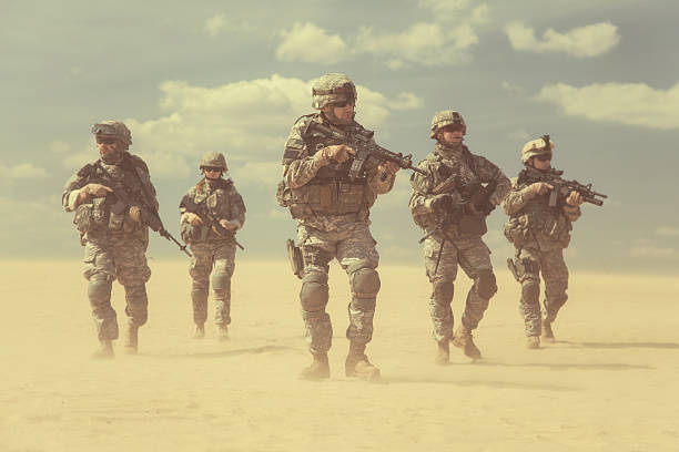 infantrymen in action - marines stock photos and pictures