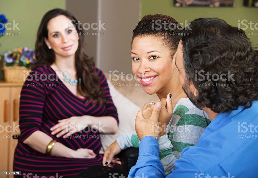 Infertile Couple with Surrogate Mother stock photo
