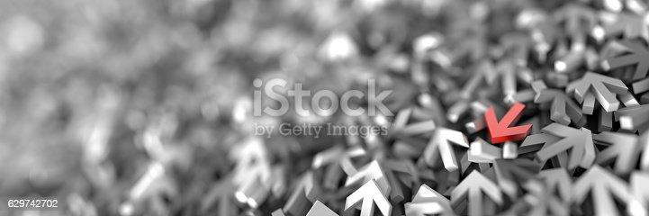 istock Infinite arrow signs, 3d rendering 629742702