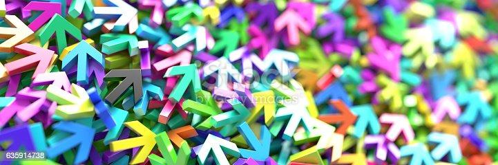 625206760 istock photo Infinite arrow signs, 3d rendering 635914738