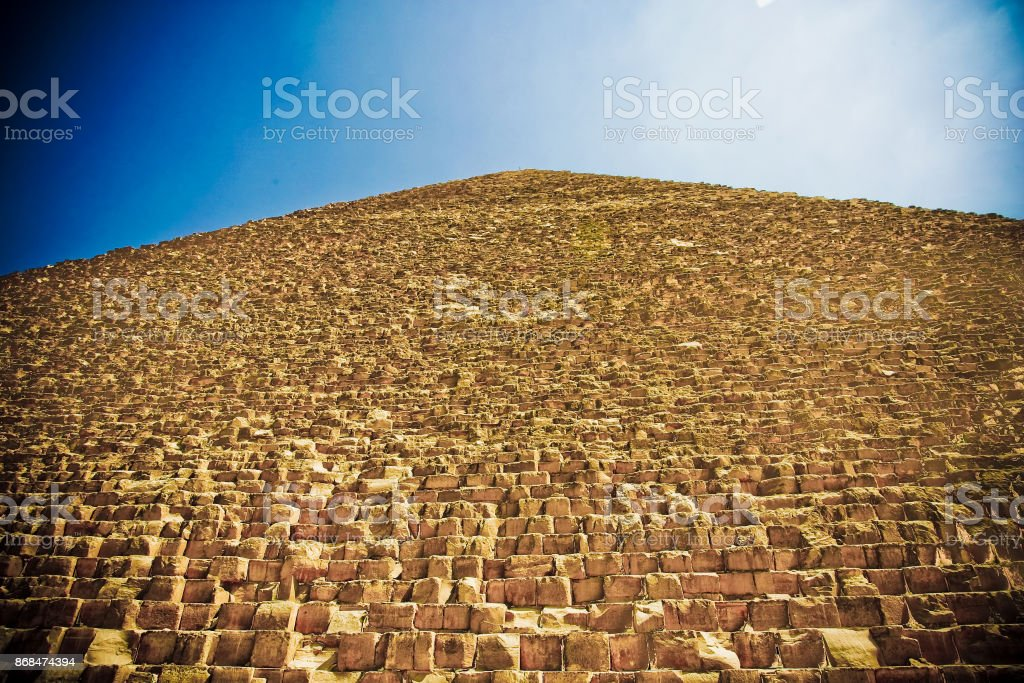 Infinite blocks that make up the pyramid of Cheope in Giza stock photo
