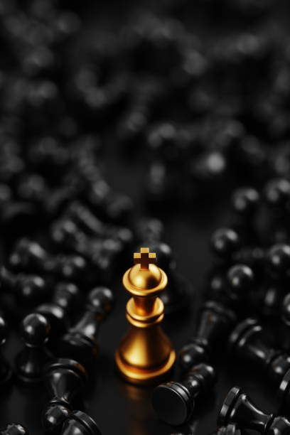 Infinite chess background, original 3d rendering. Leadership and role model concepts stock photo