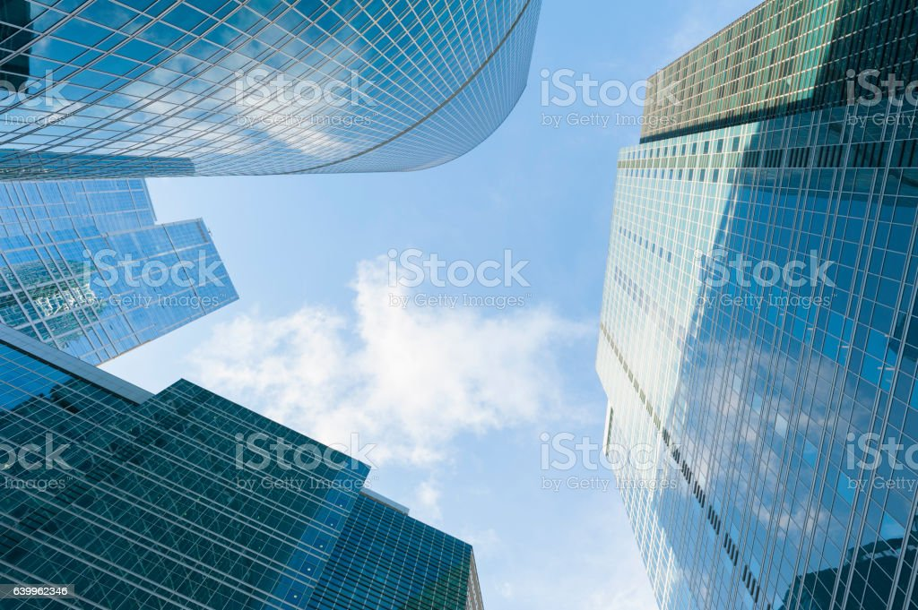 Infinite Corporate Buildings. Modern skyscrapers in business dis stock photo
