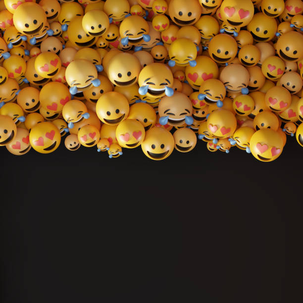 Infinite emoticons 3d rendering background, social media and communications concept stock photo
