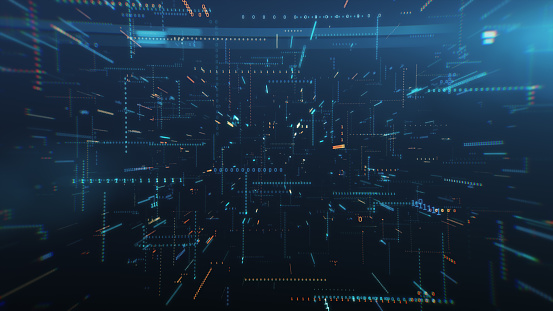 Infinite flight among binary code in a chaotic technological space 3d illustration