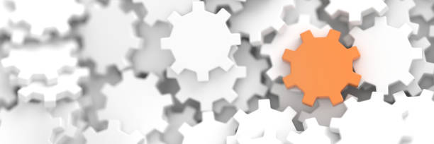 Infinite gears background with a winner. 3d rendering background, teamwork and leadership concepts stock photo