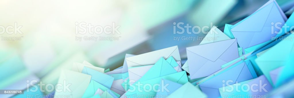 Infinite mail envelopes, 3d rendering background stock photo