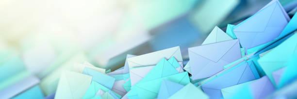 Infinite mail envelopes, 3d rendering background stock photo