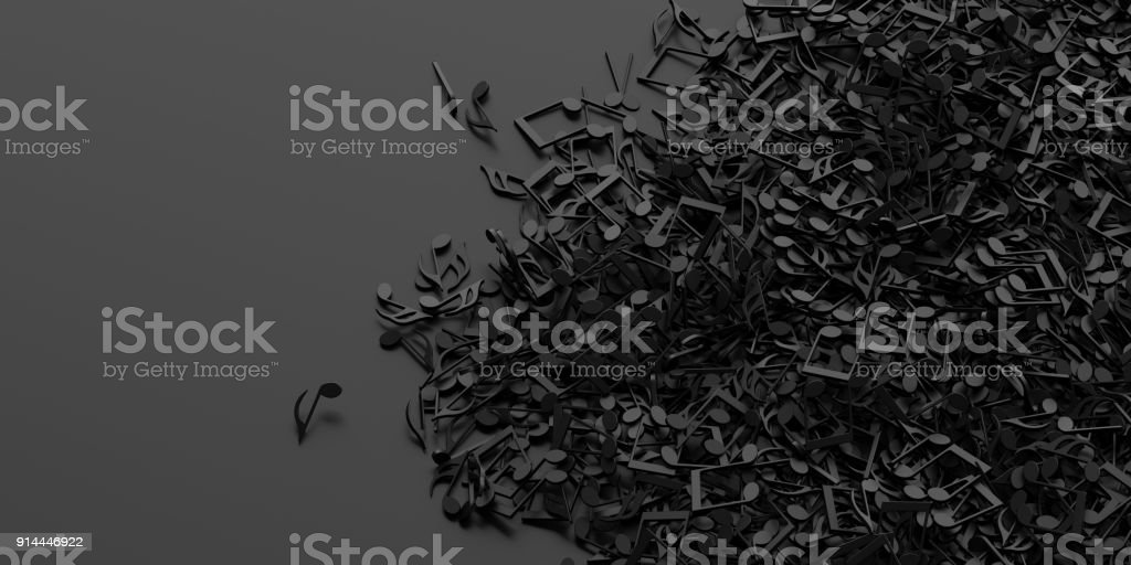 Infinite musical notes, art and music 3d rendering conceptual background stock photo