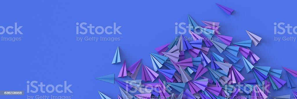 Infinite paper planes on a plane - Photo