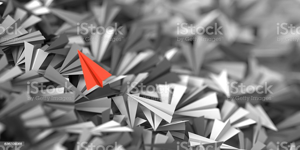 Infinite paper planes on a plane stock photo