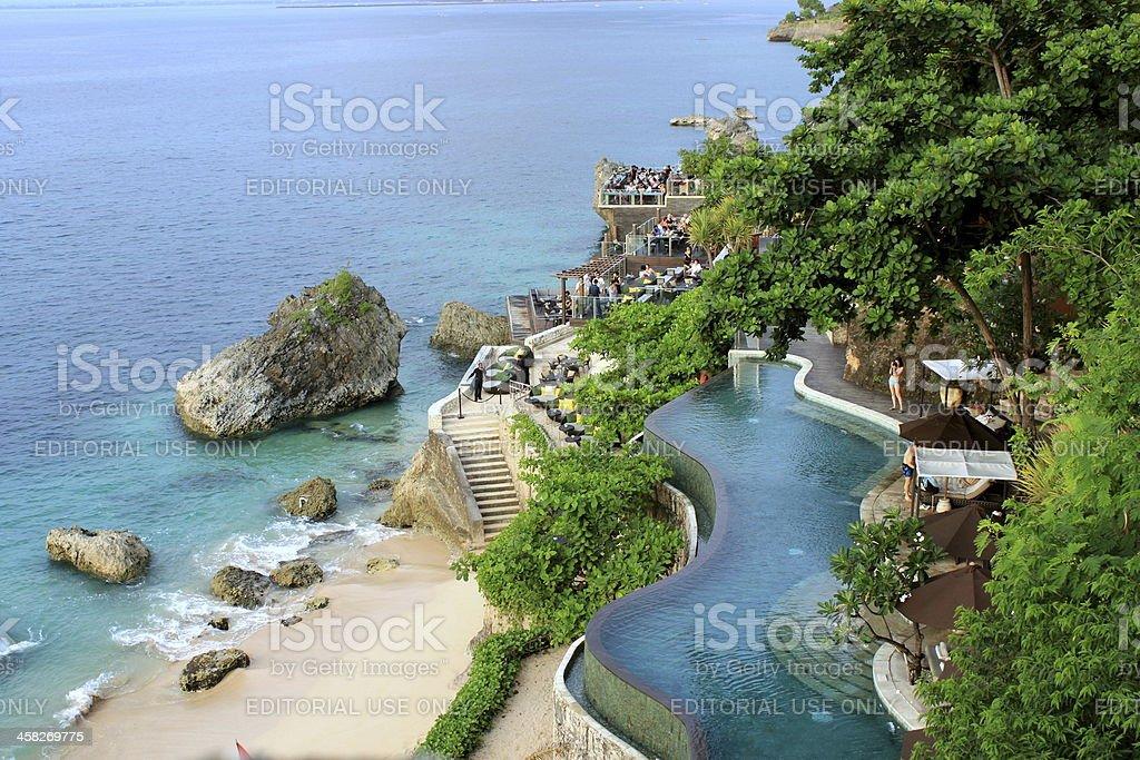 infinite pool close to the sea stock photo