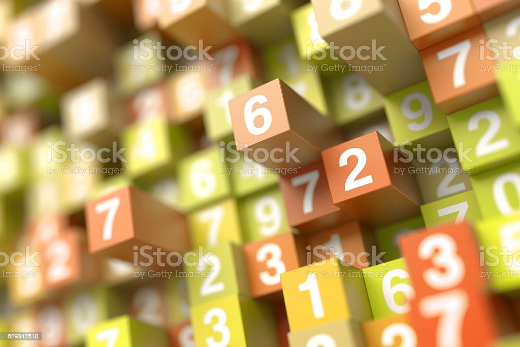 Infinite random numbers background stock photo