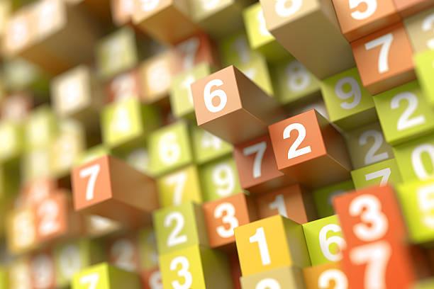 Infinite random numbers background stock photo